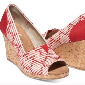 New Toms Red Wedge Sandals Espadrilles